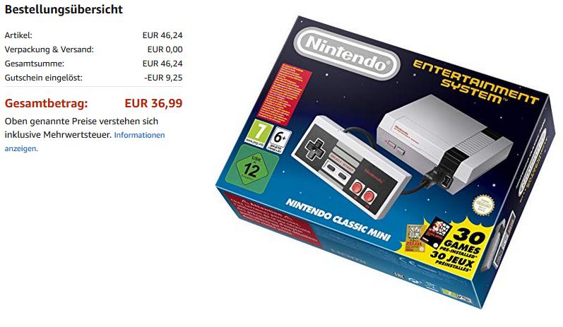 "NES Classic Mini - in den Warehousdeals um 36,99€ - Zustand ""Sehr Gut"""