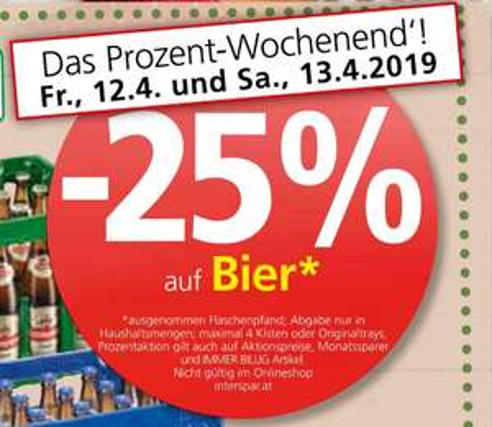 [Spar|Aktionsfinder] -25% auf Bier und 0,20€ Cashback je Dose