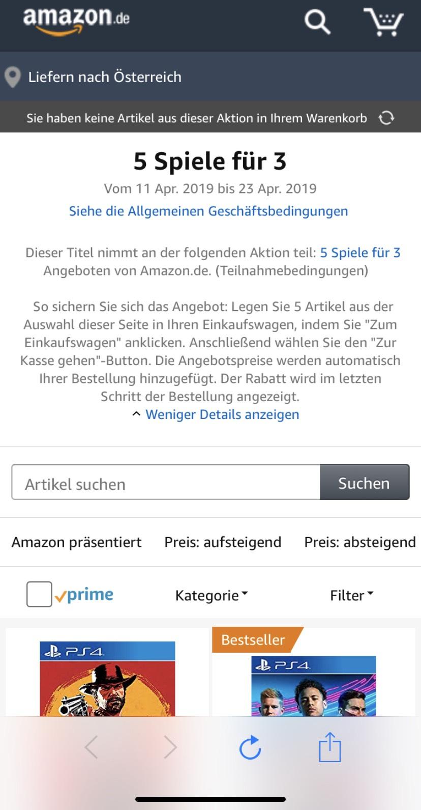 Kaufe 5 Spiele und zahle 3 [Amazon.de)