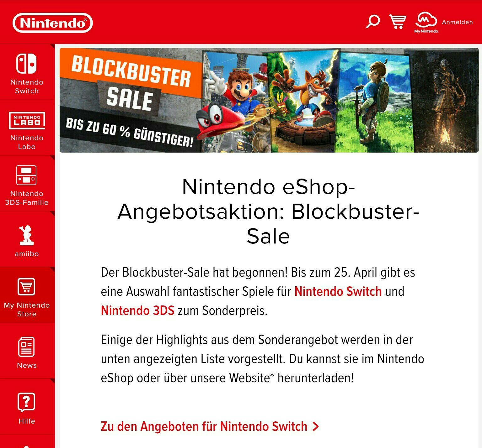 Nintendo eShop-Angebotsaktion: Blockbuster-Sale