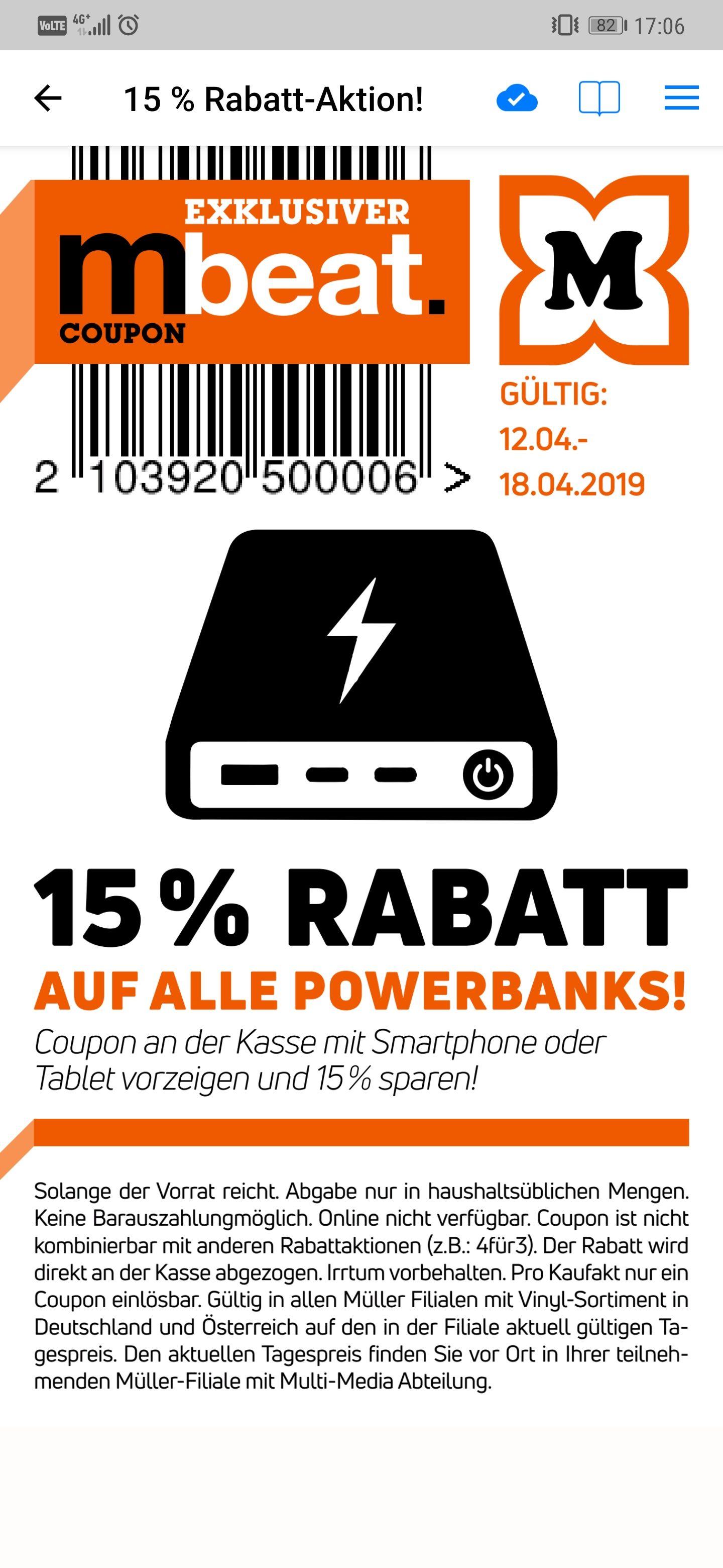 -15% auf alle Powerbanks @Müller