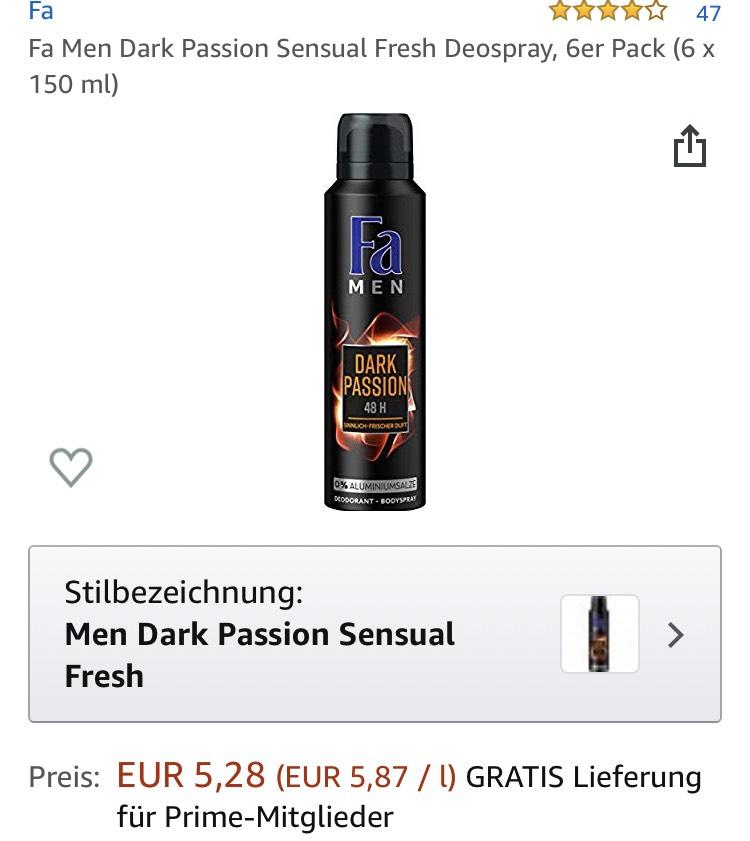 Fa Men Dark Passion Sensual Fresh Deospray, 6er Pack (6 x 150 ml)