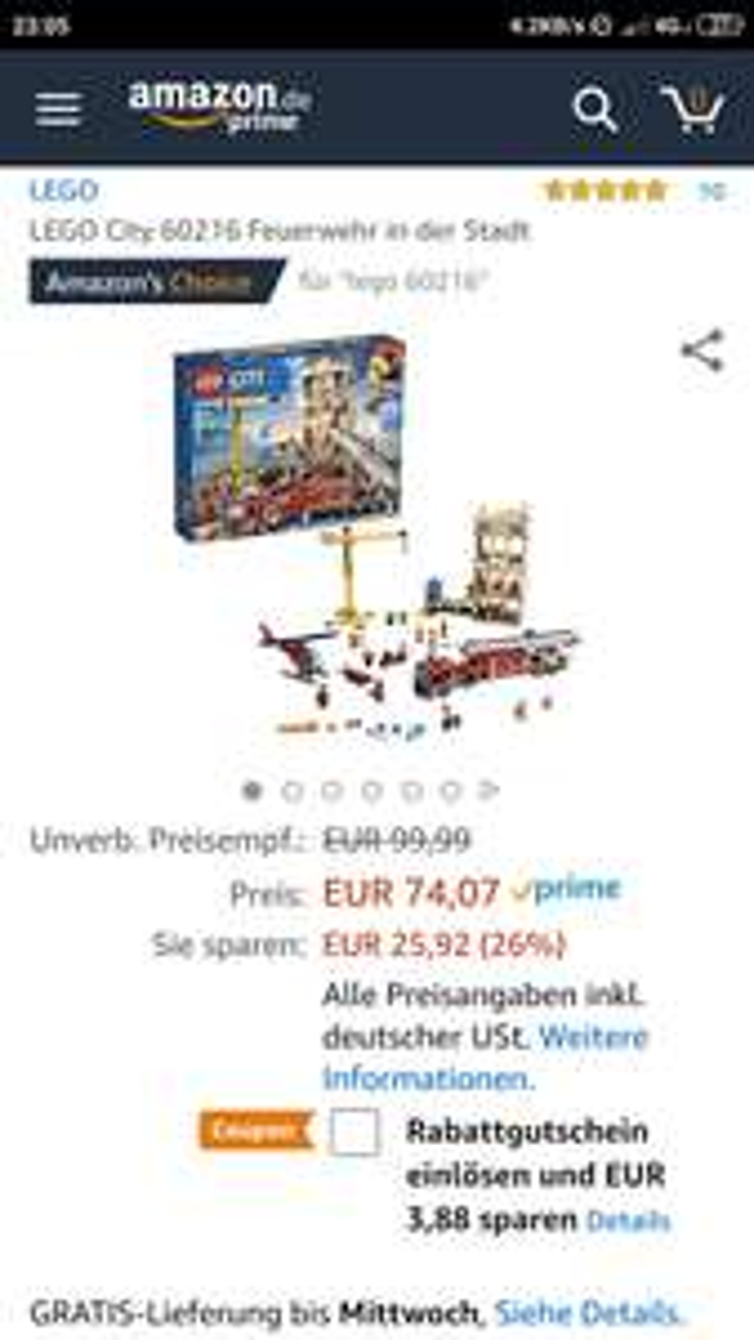 [AMAZON] LEGO City 60216 Feuerwehr in der Stadt
