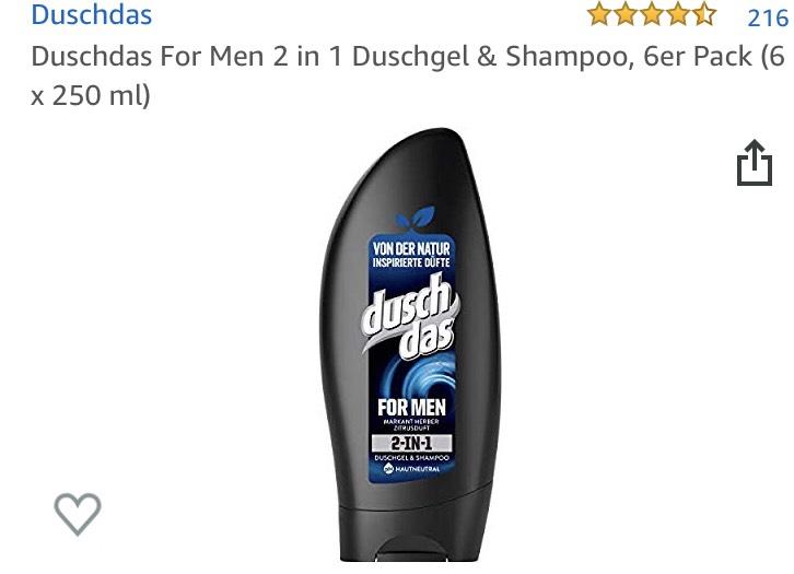 Nur 0,68 pro Stk. - Duschdas For Men 2 in 1 Duschgel & Shampoo, 6er Pack (6 x 250 ml)