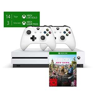 Xbox One S 1TB Konsole - Bundle inkl. 2. Controller + 3 Monate Gamepass + 14 Tage Live Gold + Far Cry New Dawn Standard Edition für 229€
