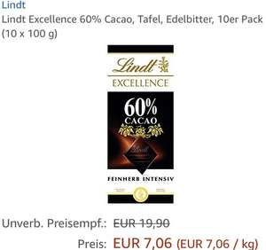 Hammerpreis => Lindt Excellence 60% Cacao, 10 x 100 Gramm