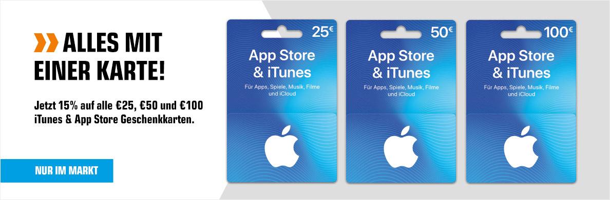 Saturn: -15% auf 25€-100€ iTunes Gutscheinkarten