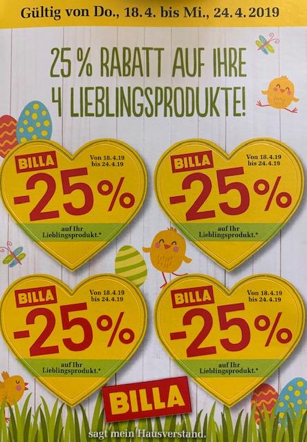 www.Billa.at l HERZL -=ALARM=- Nicht Liebe sondern 25% Rabatt Sticker liegen in der Luft :) ab 18.04-24.04.2019