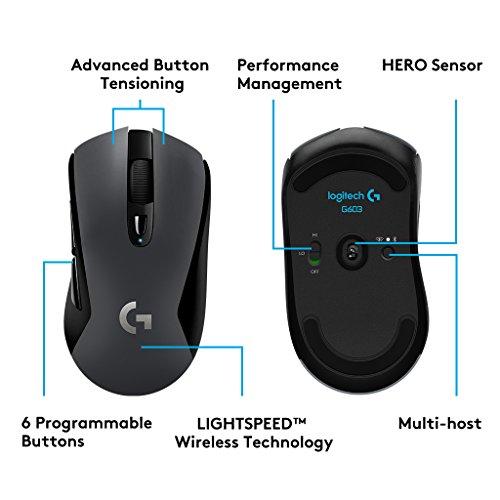 Logitech G603 Kabellose Gaming Maus (mit optischem Hero Sensor) für 34,99€