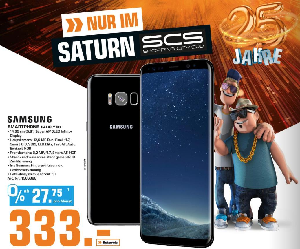 """[Saturn SCS] Samsung Galaxy S8 / schwarz / 64 GB / 5.8"""" für 333 Euro"""