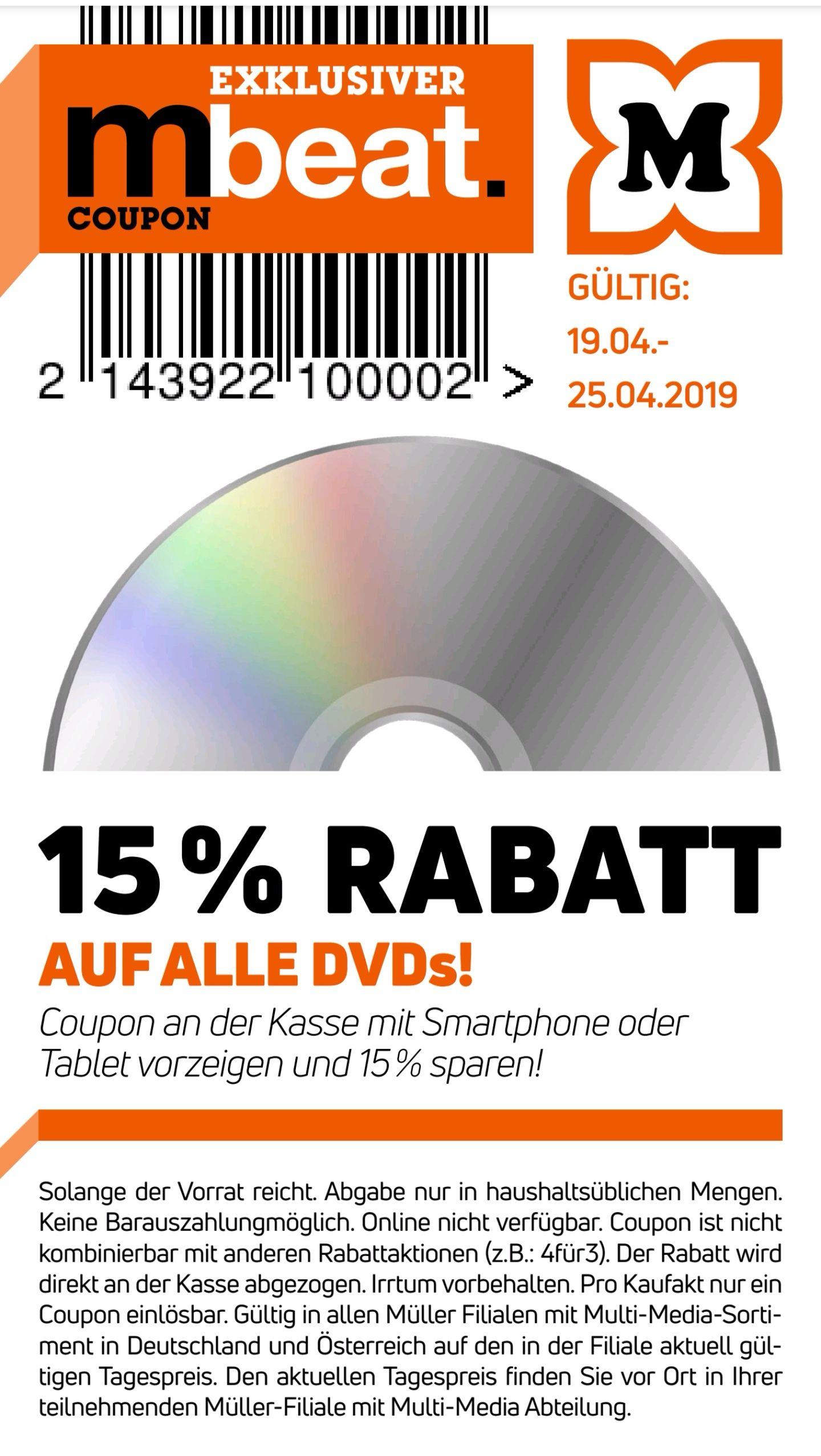 Müller -15% auf alle DVDs ab 19.4. 2019