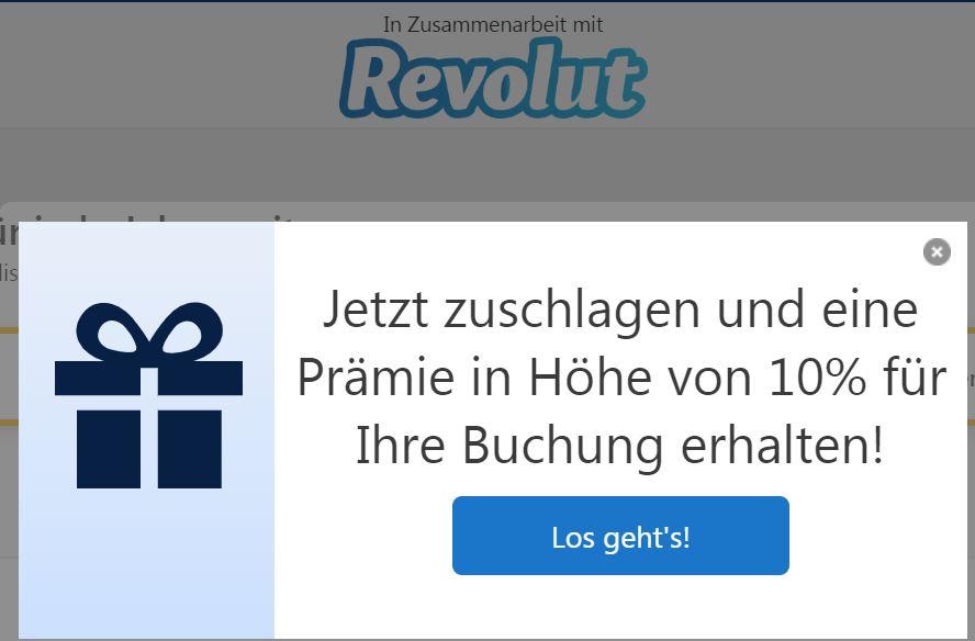 Unlimitiert 10% Booking.com Rabatt für Revolut Kunden