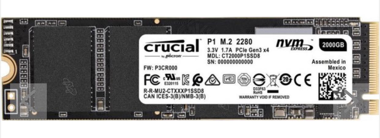Crucial P1 CT500P1SSD8 500GB Interne SSD (3D NAND, NVMe, PCIe, M.2) für 59,50
