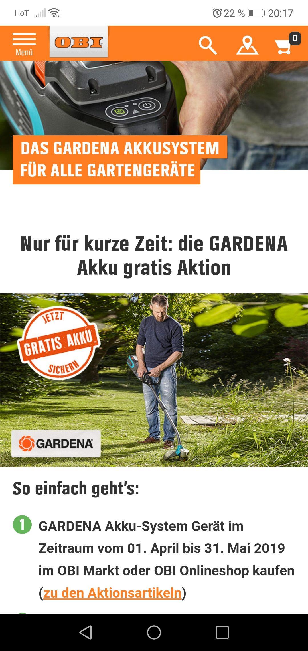 Obi gratis Akku bei Kauf eines Gardena Gartengeräts