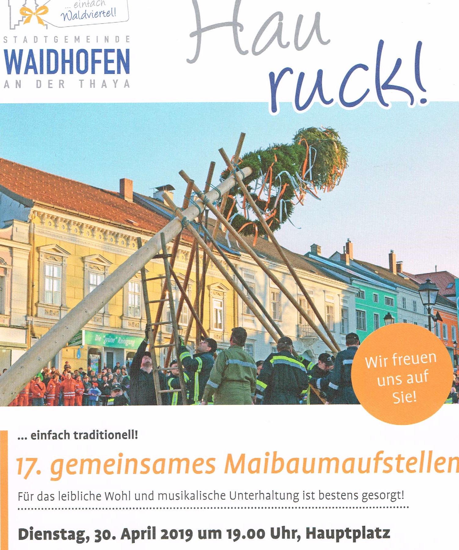 30.4.2019: Gratis Bier, Wein, Alkoholfreies, Frankfurter, Semmeln + Musik: Hauptplatz 3830 Waidhofen/Thaya