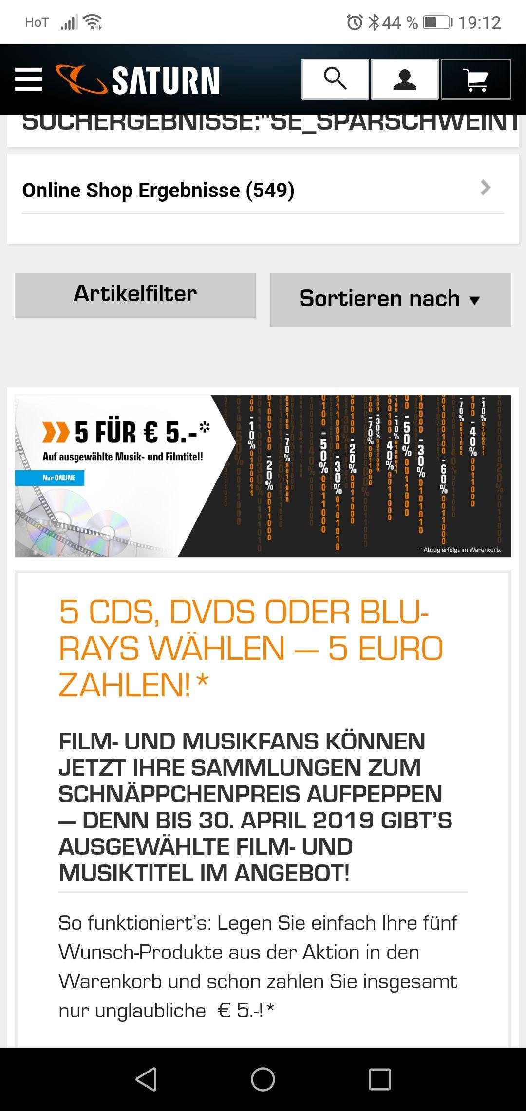Saturn 5 CDs DVD oder Blue rays für 5 Euro
