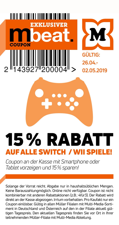 Müller - 15% auf alle Switch und Wii Spiele