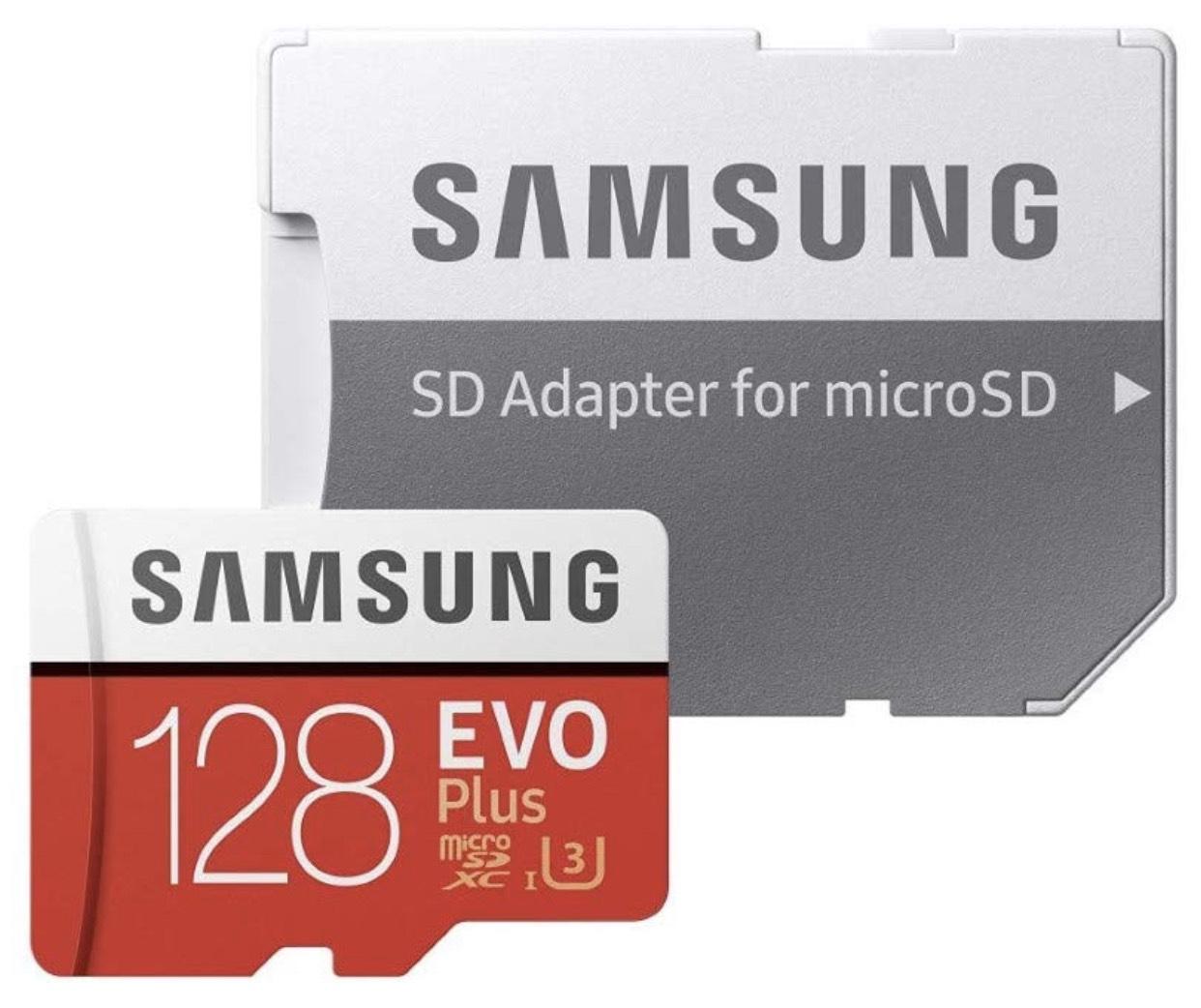 Samsung EVO Plus microSDHC 128 GB, 100 MB/s, UHS-I U3 (inkl. SD Adapter) für 19,16€
