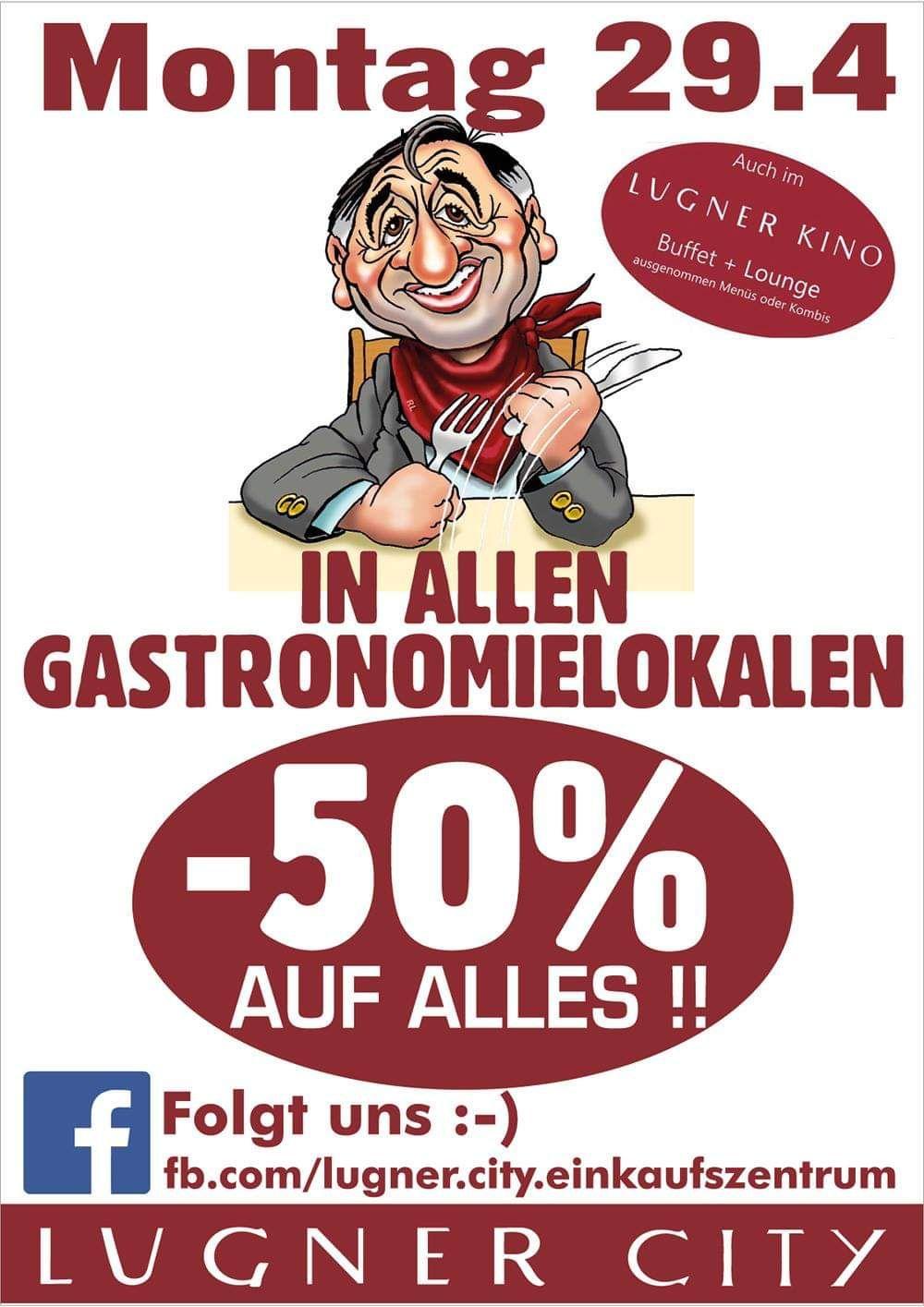 Lugner City: -50% in der Gastronomie und am Kino Buffet