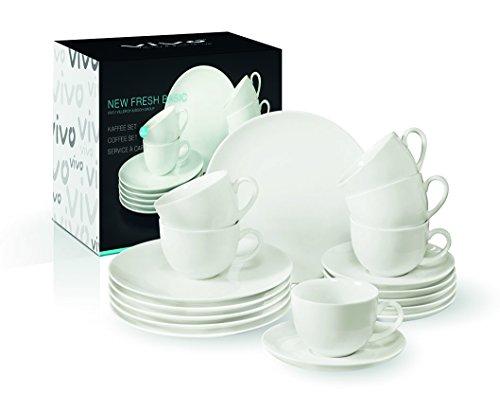 vivo by Villeroy & Boch Group New Fresh Basic Kaffeeservice für bis zu 6 Personen, 18-teilig, Premium Porzellan, Weiß für 32,15€