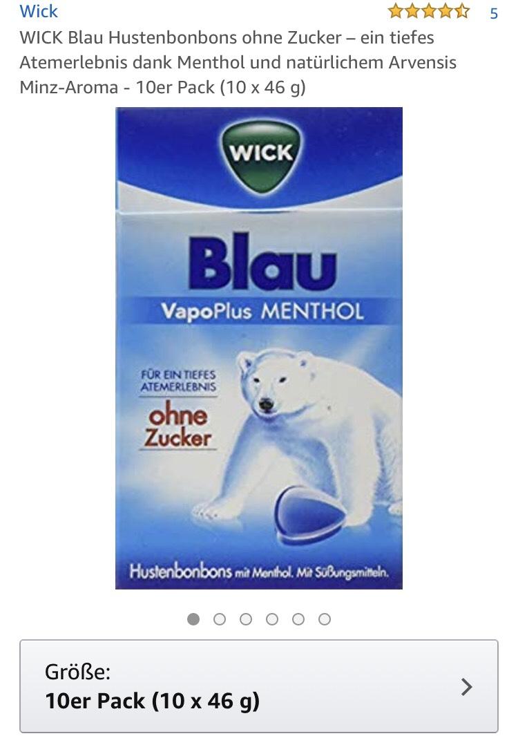 10 Pkg. WICK Blau Hustenbonbons ohne Zucker