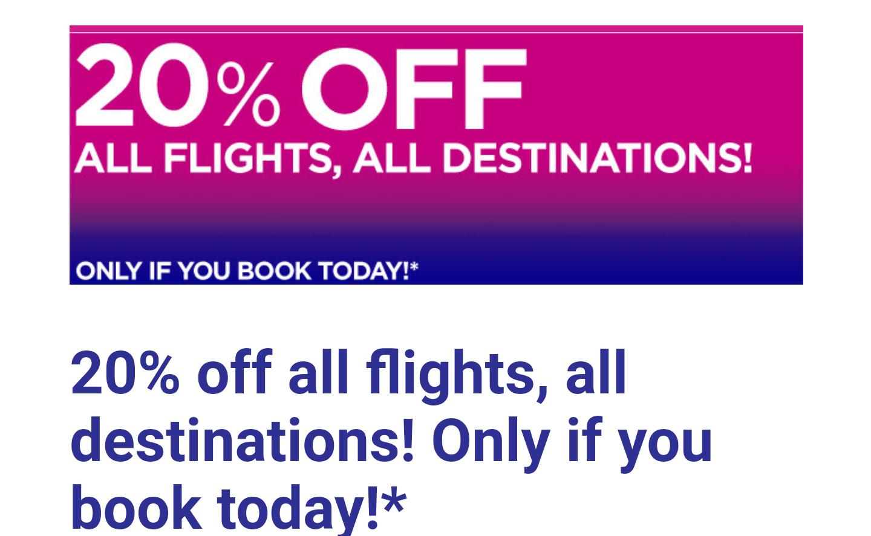 -20% auf alle wizzair Flüge (nur heute)