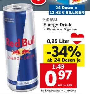 Red Bull um 0,97€ - Supersamstag bei Lidl