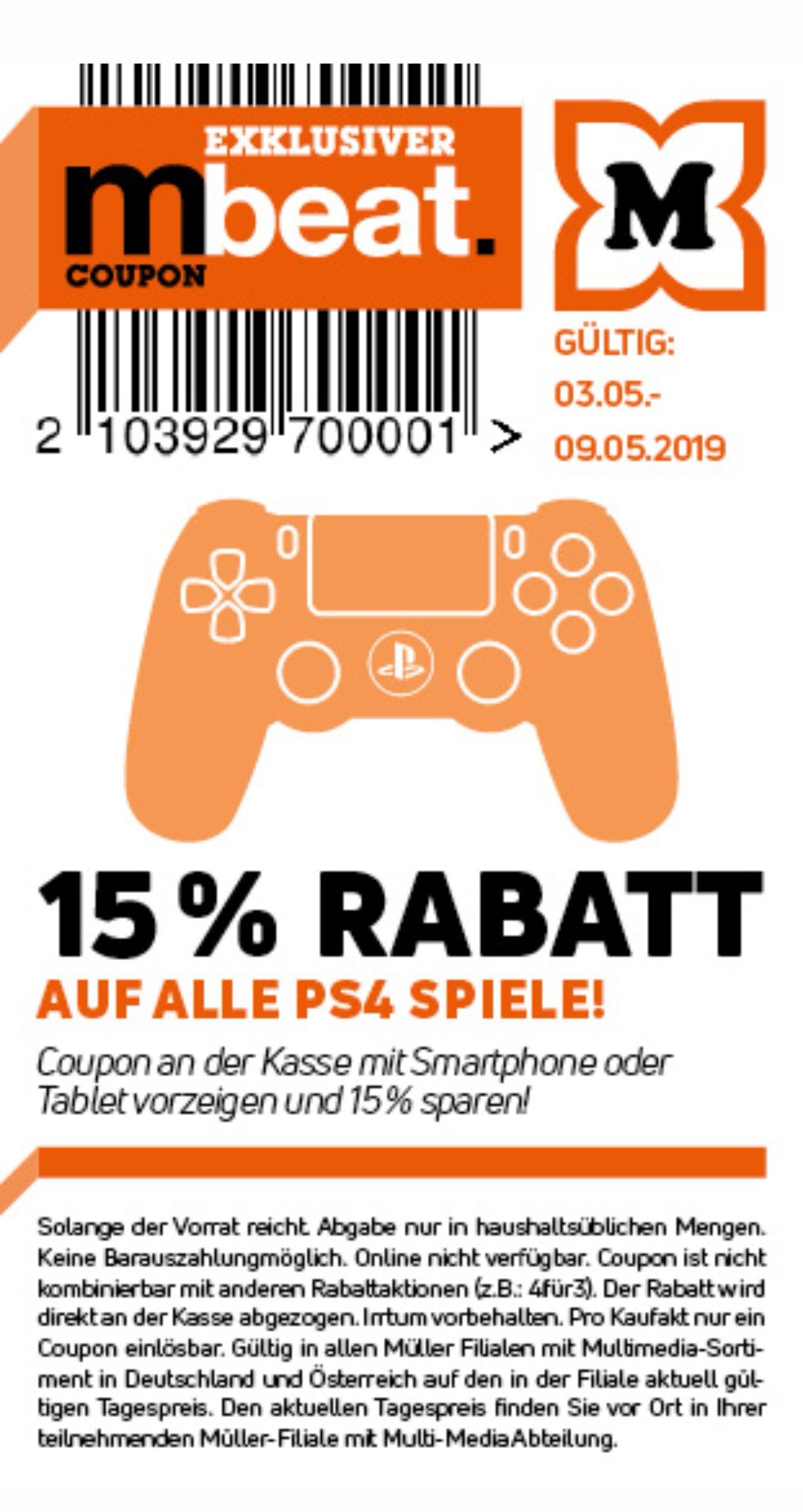 Müller -15% auf alle PS4 Spiele