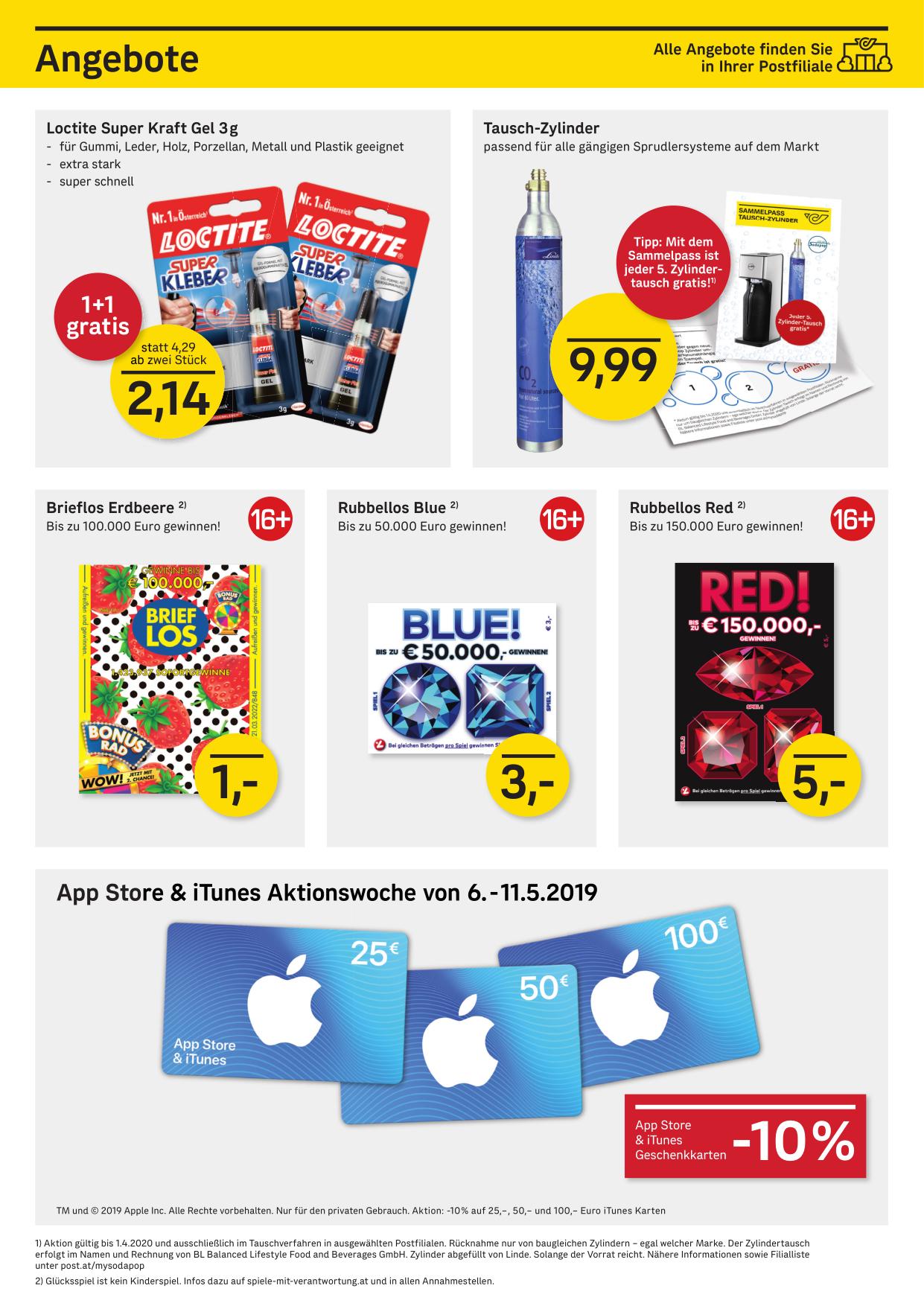 10% Rabatt auf App Store & iTunes Karten bei der Post