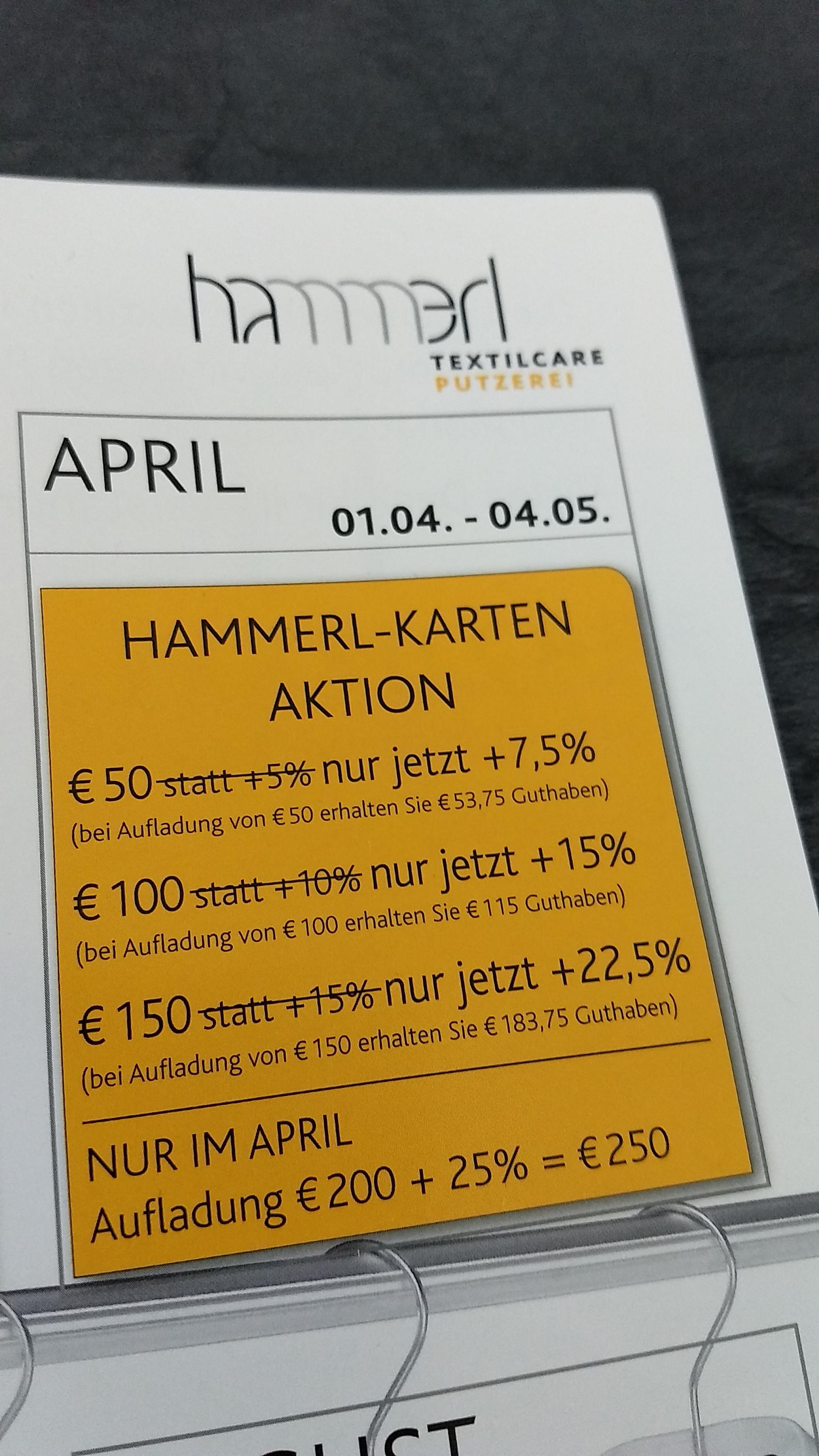 Putzerei Hammerl: bis zu € 50,- geschenkt bei Kartenaufladung