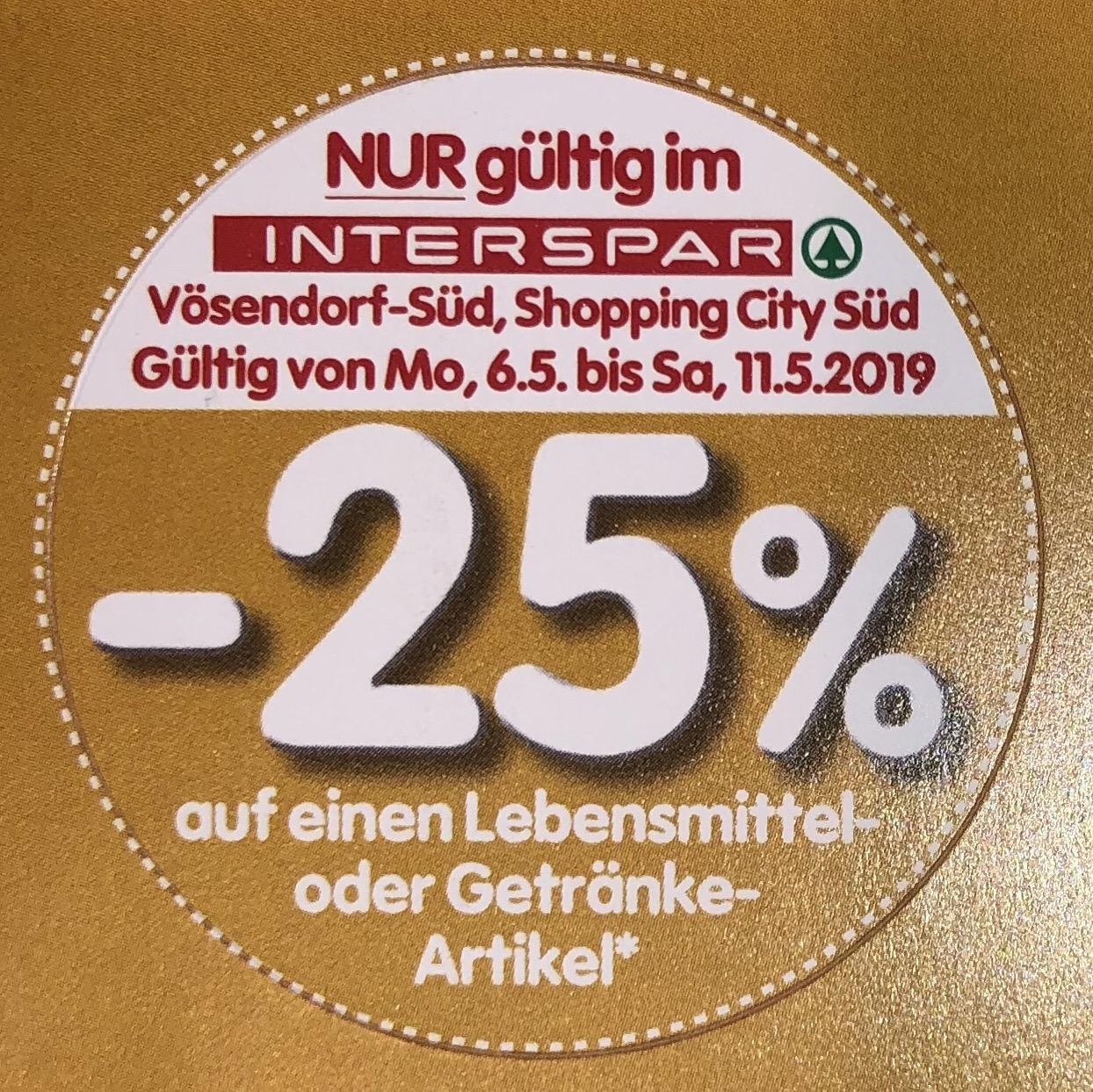 [Interspar SCS Vösendorf] 25% Pickerl für Lebensmittel und Getränke