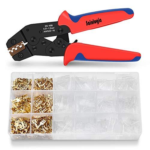 Sainlogic Crimpzange mit Flachsteckhülsen Set
