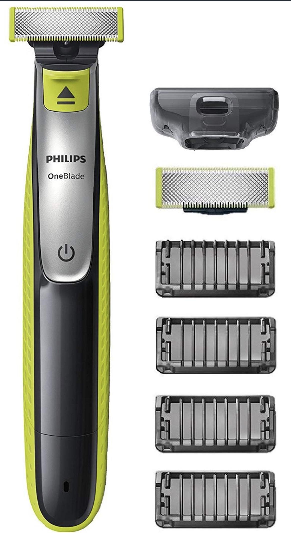 Philips OneBlade Face QP2530/30, mit 1 Ersatzklinge und 4 Trimmeraufsätzen, 4 Längeneinstellungen