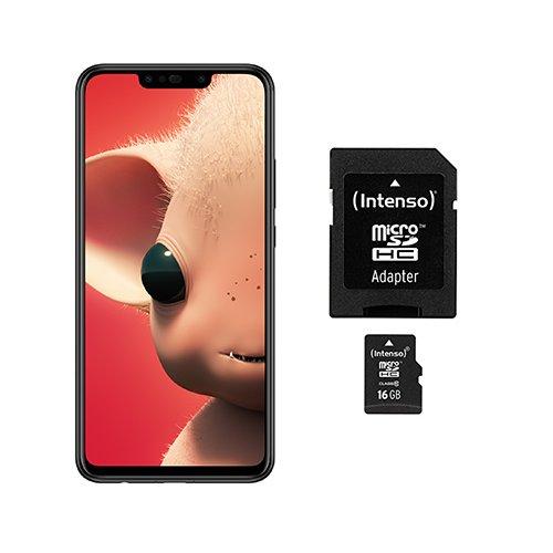 HUAWEI P Smart+ Smartphone BUNDLE (6,3 Zoll, 64GB Speicher, 4GB RAM, Android 8.1) + gratis Intenso 16 GB Speicherkarte