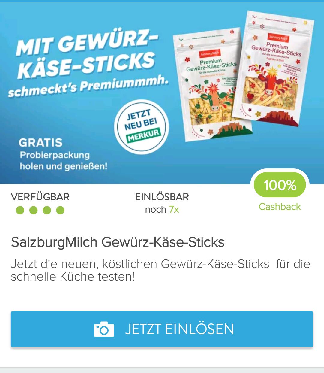 gratis: 7 Packungen SalzburgMilch Gewürz-Käse-Sticks pro Marktguru-Account