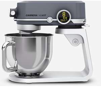 Carrera No 657 Küchenmaschine mit 800 Watt und 5L Edelstahl-Rührschüssel