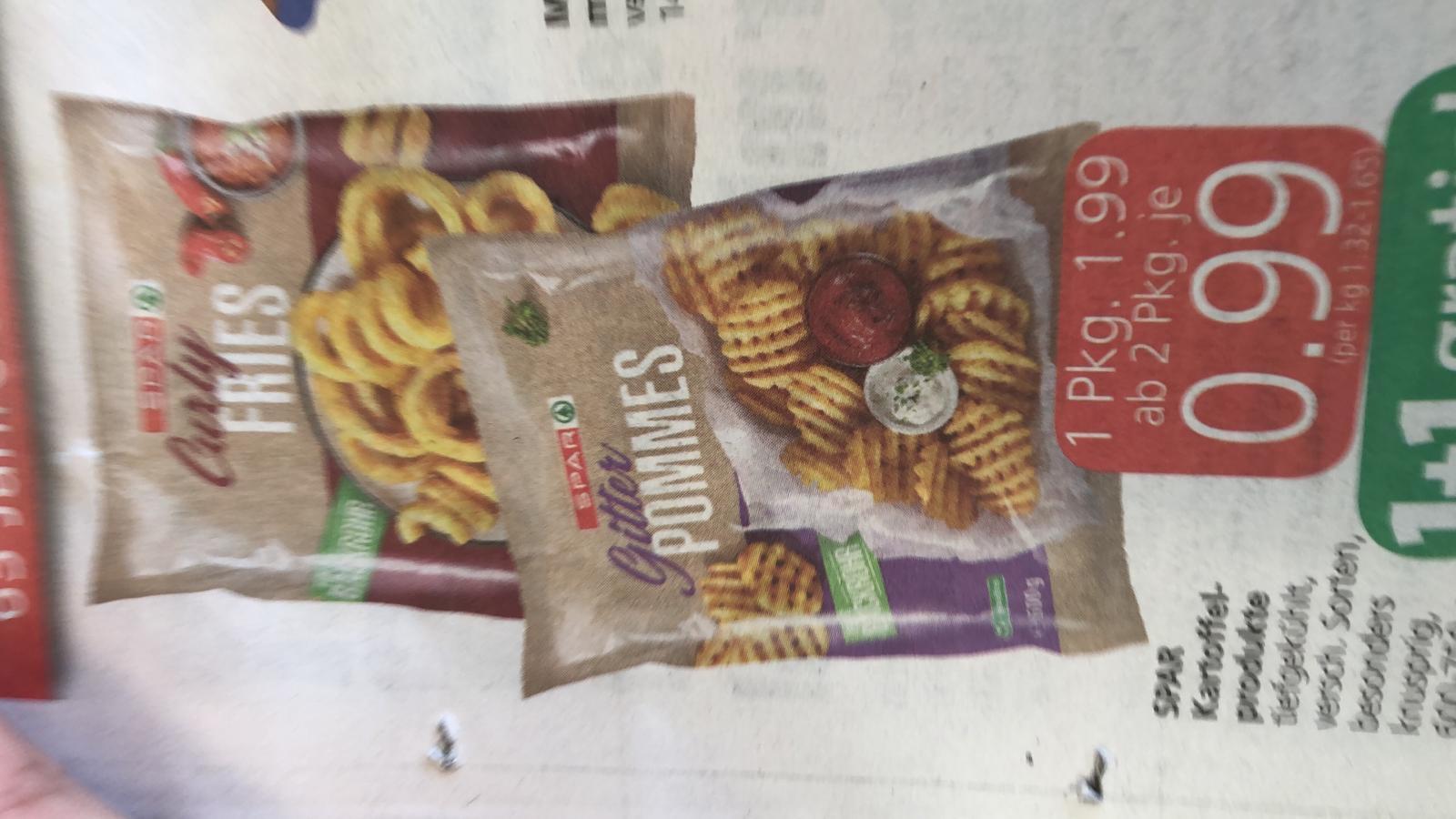 Gitterpommes, Curly fries wie bei Mcdonalds - ab 2 Pkg. für je 0,99 €