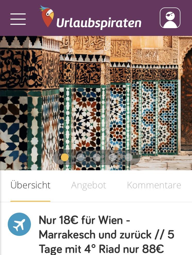 Für nur € 18,— von Wien nach Marrakesch und zurück