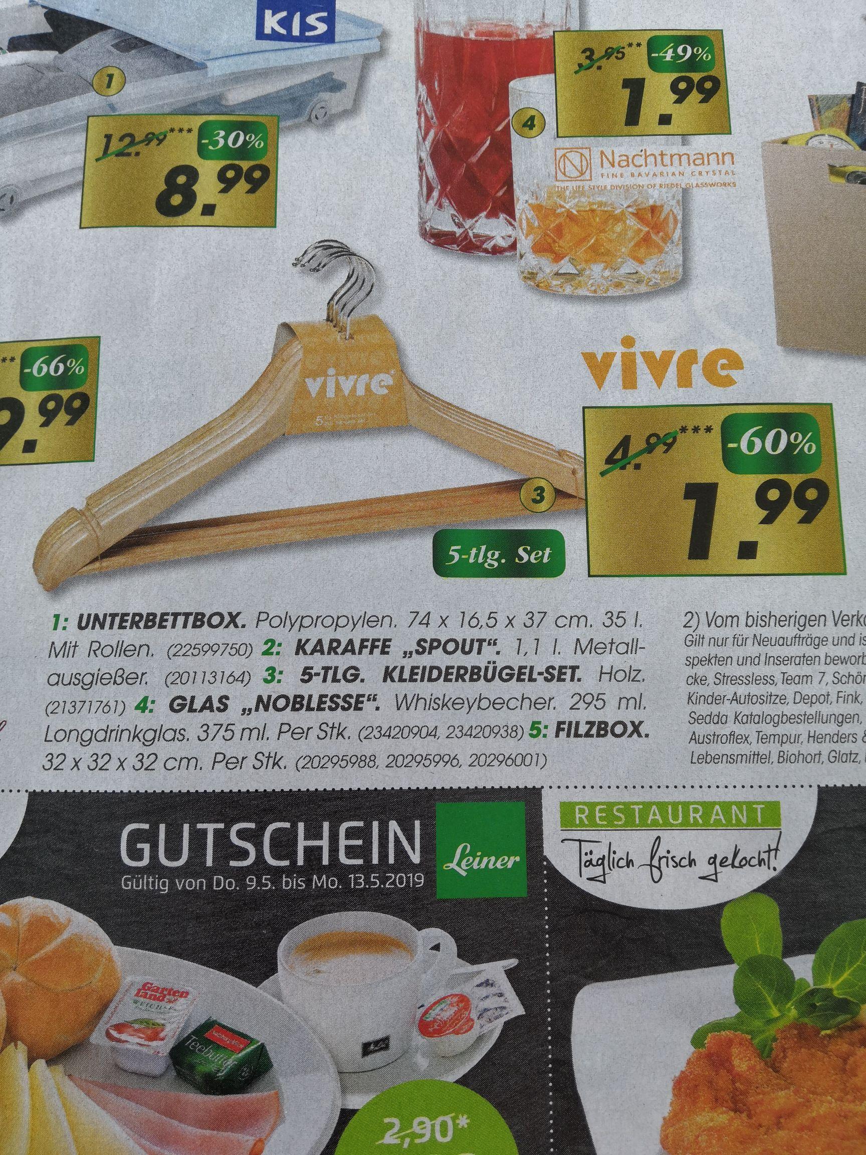 Leiner: Kleiderbügel-Set aus Holz (5 Stk.)