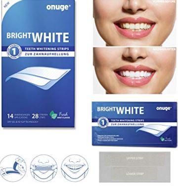 Amazon PRIME**: Onuge White Strips Zahnbleaching-Set*** für weiße Zähne (28 Zahnaufhellungs-Streifen)