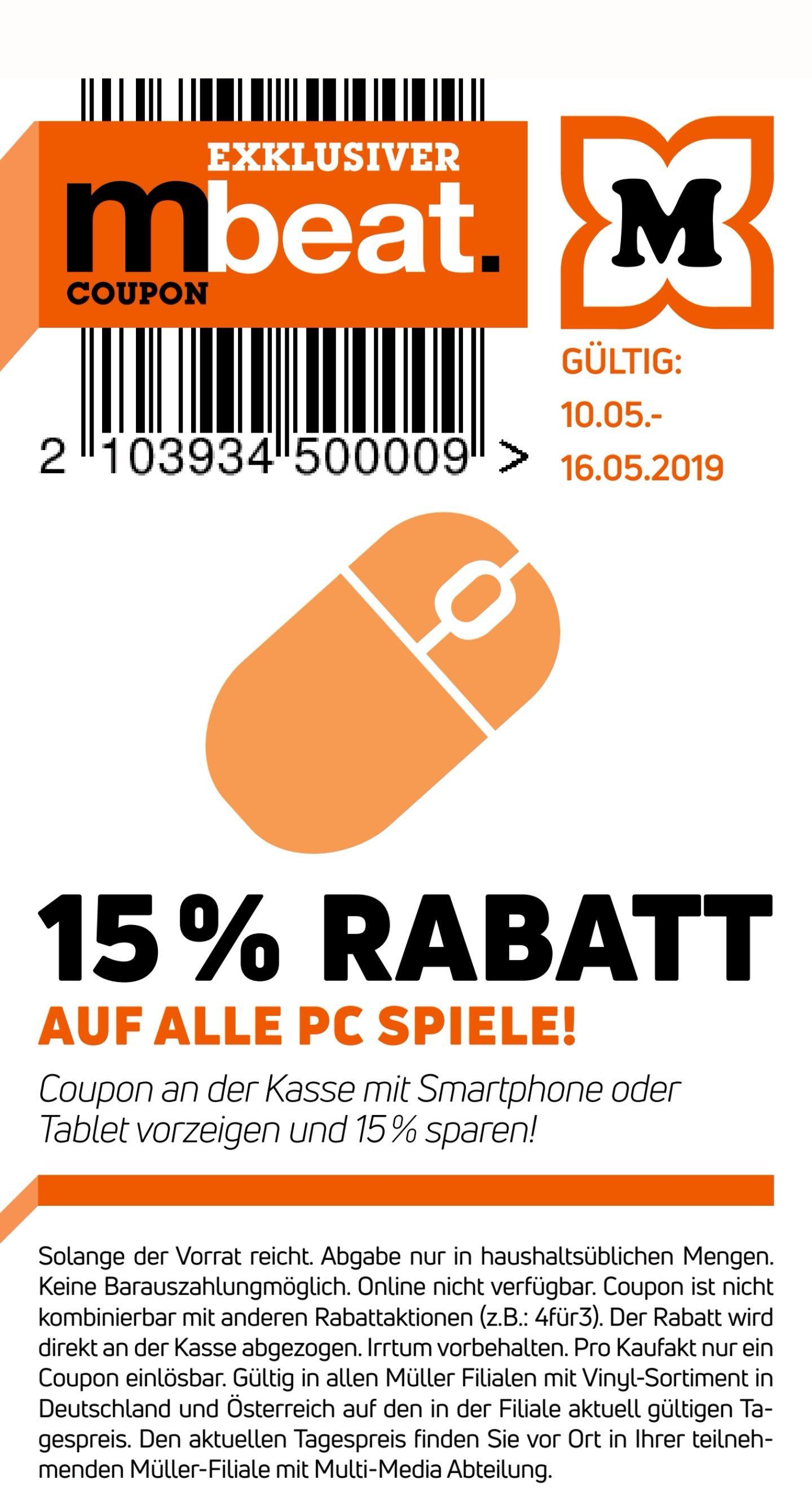 @Müller -15% auf alle Pc Spiele