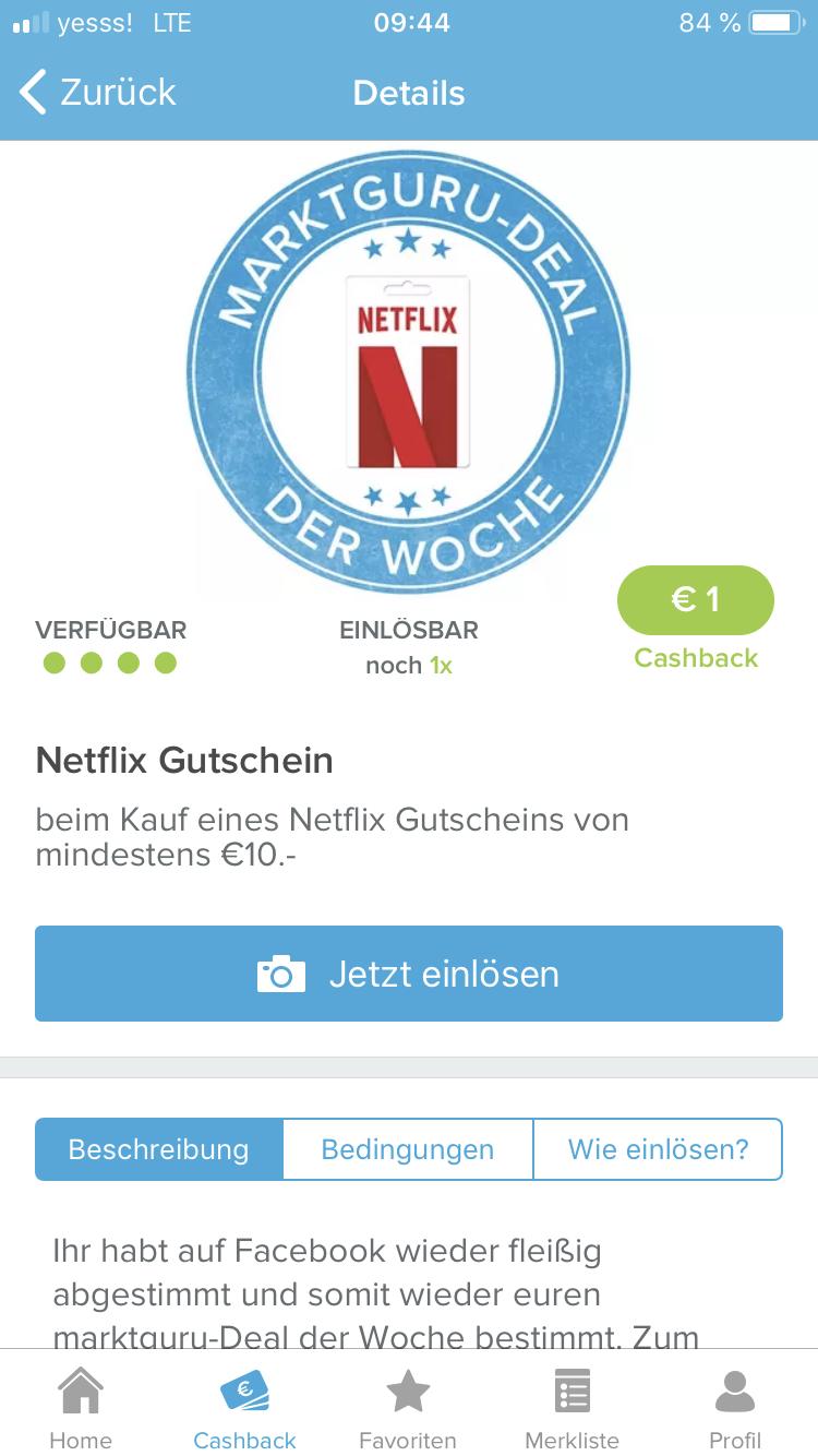 Marktguru Cashback - Netflix 1€ geschenkt ab 10€