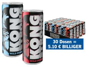 Kong Strong Energy Drink 0,25L Classic oder Light ab 30 Dosen