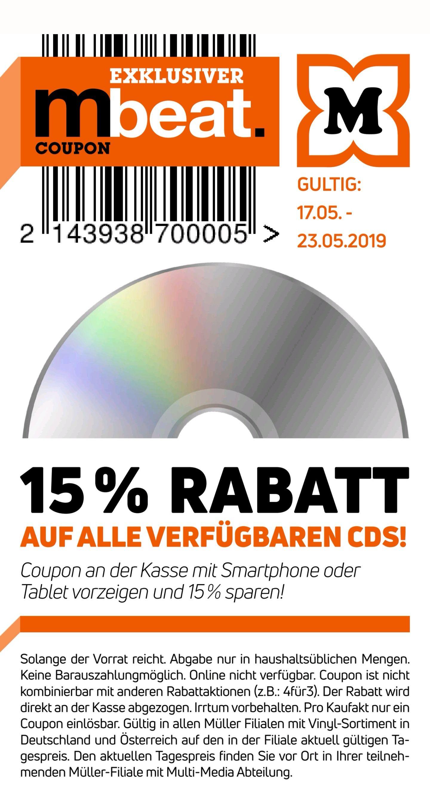 @Müller - 15% auf alle Verfügbaren CDs