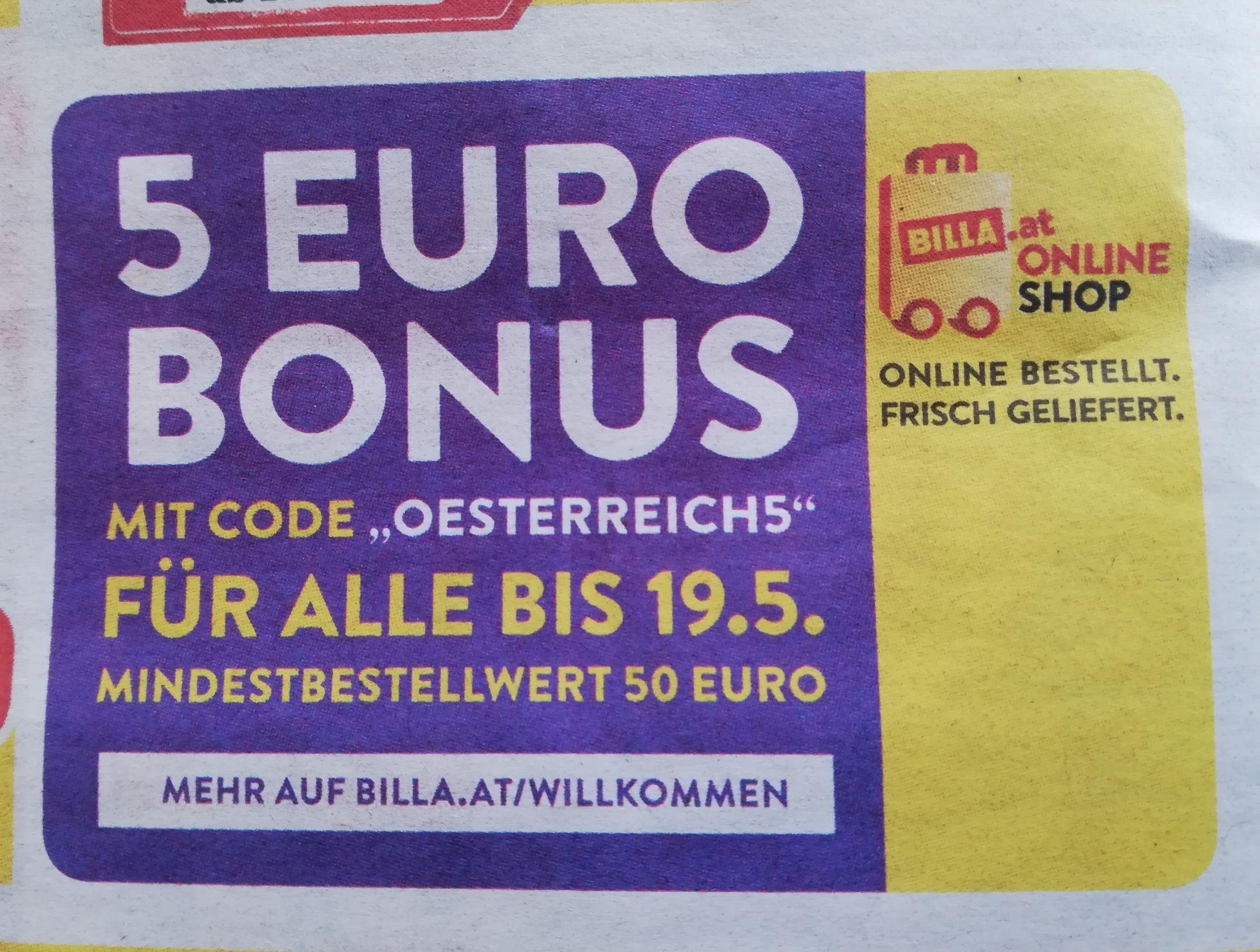 Billa Online Shop: 5€ Rabatt (MBW 50€)