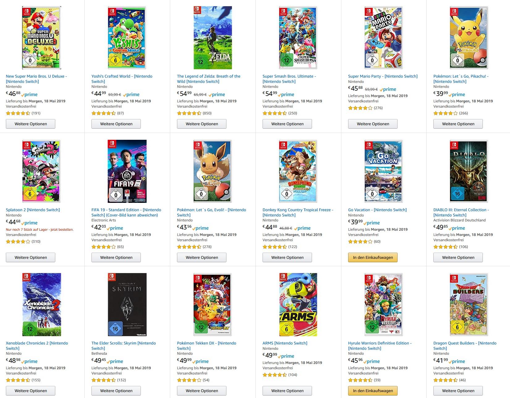 Amazon.de - 5 Switch Spiele für 150 EUR