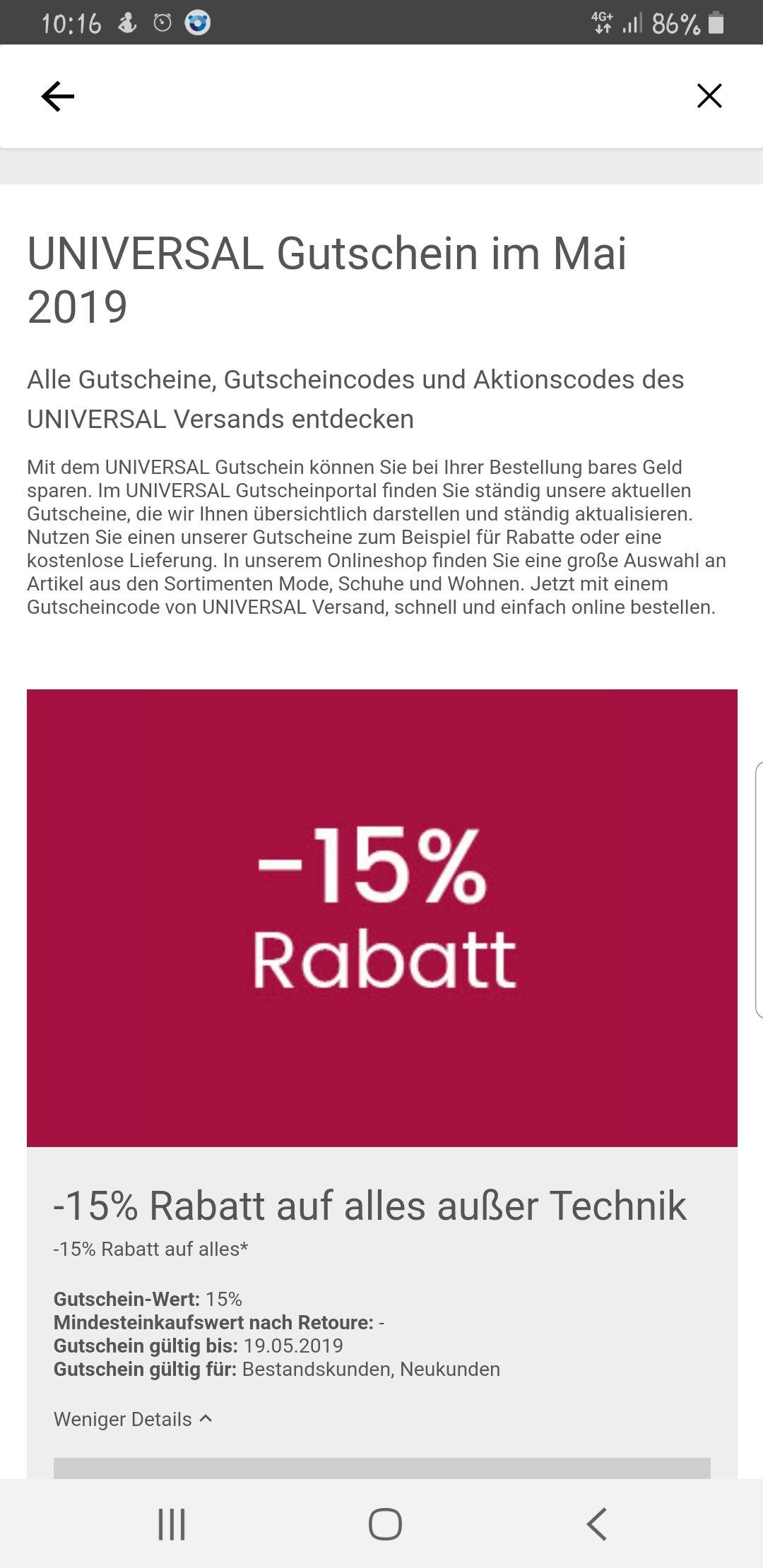 -15% Rabatt auf Alles außer Technik