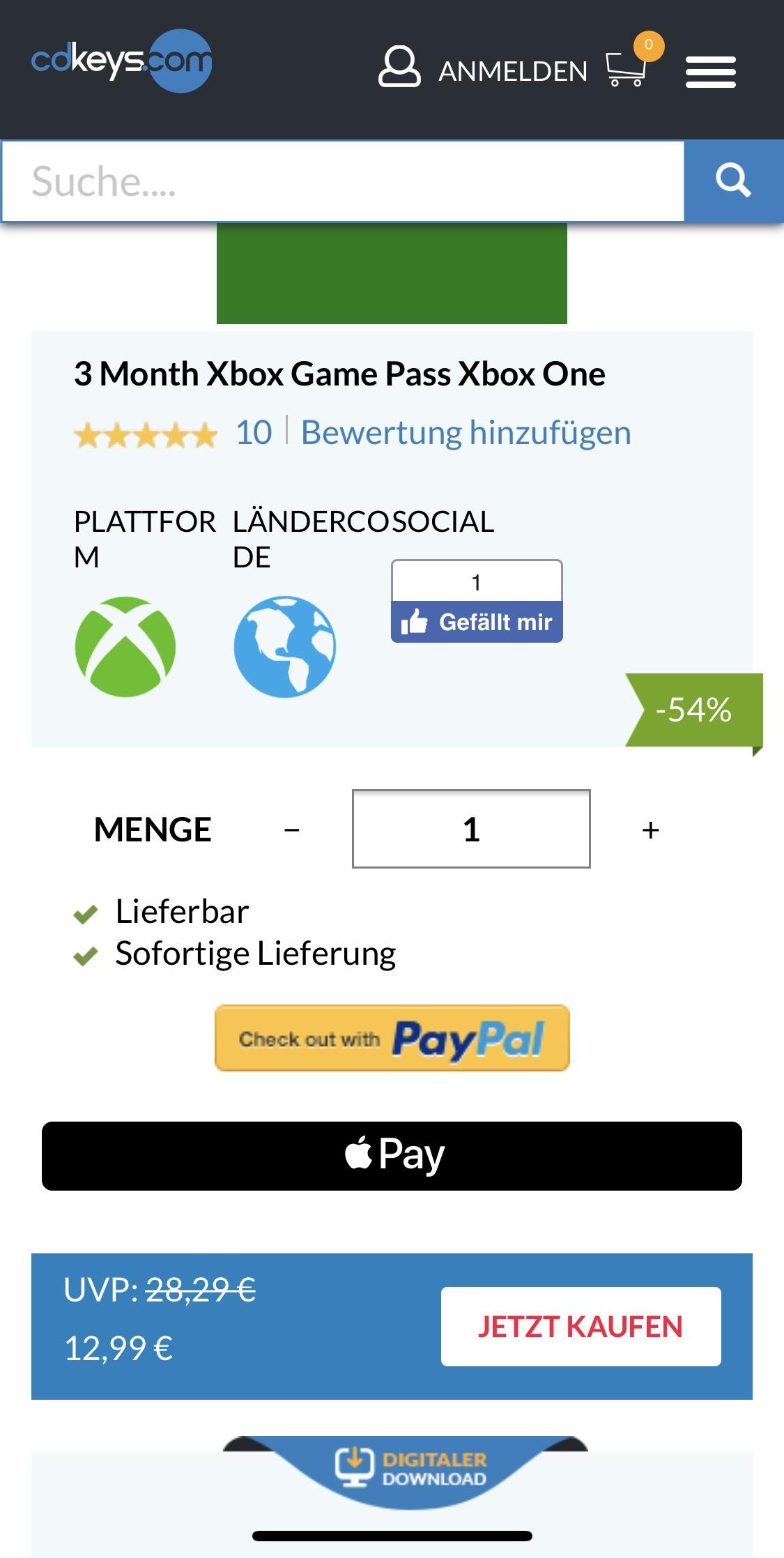 Xbox Game Pass für 3 Monate
