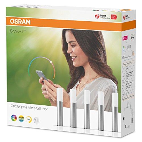 OSRAM Smart+ LED Gartenleuchte Mini, ZigBee, warmweiß bis tageslicht, dimmbar, Schutzklasse IP65, 5 Spots