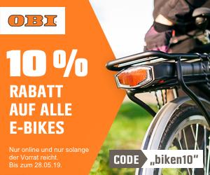 10% Rabatt auf E-Bikes - z.B. Fischer Trekking E-Bike ETH 1801-S1 für 900 € statt 1049,95 €